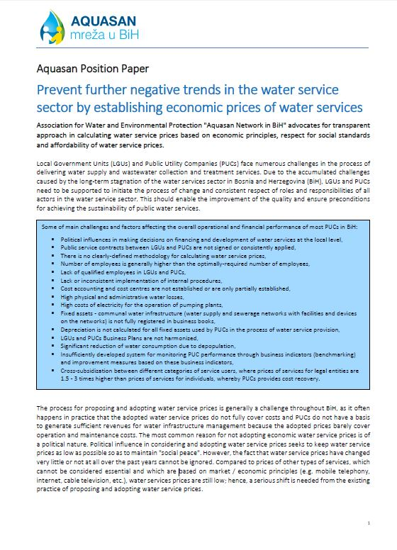 Prevent further negative trends in the water service sector by establishing economic prices of water services