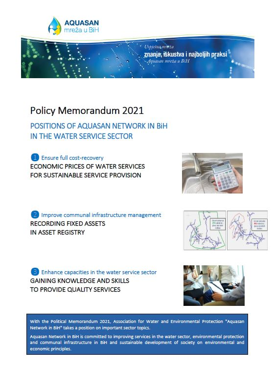 Policy Memorandum 2021: Positions of AQUASAN Network in BiH in the Water Service Sector
